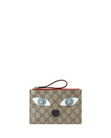 Girls' GG Supreme Leather-Trim Cat Wristlet, Beige/Orange