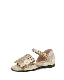 Metallic Leather Fringe Sandal, Platinum, Toddler