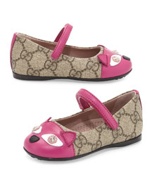 GG Supreme Kitty Mary Jane Flat, Beige, Toddler