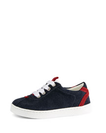 Leather Lace-Up Sneaker, Blue, Toddler