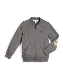 Jaxson Zip-Front Cotton Cardigan, Medium Gray, Size 4-14
