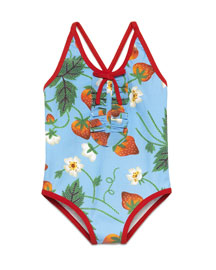 Strawberry-Print One-Piece Swimsuit, Blue, Size 9-36 Months