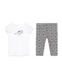 Cap-Sleeve Cat Jersey Tee w/ Printed Leggings, White//Gray/Black, Size 9-36 Months