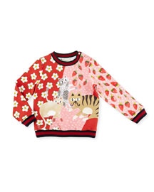 Coated Multipattern Kitty Sweater, Mellow, 12-36 Months