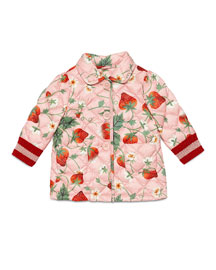 Quilted Button-Front Strawberry-Print Jacket, Mellow Rose, Size 18-36 Months