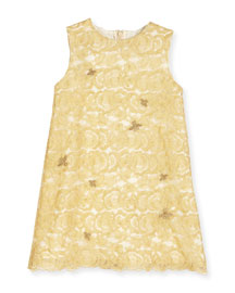Sleeveless Bee-Embroidered Lace Shift Dress, Gold, Size 18-36 Months