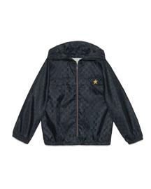 Hooded GG-Print Rain Jacket, Navy, Size 4-12