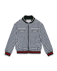 Gingham Seersucker Bomber Jacket, Navy, Size 6-12