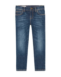 Faded Stretch Slim-Fit Denim Jeans, Blue, Size 6-12