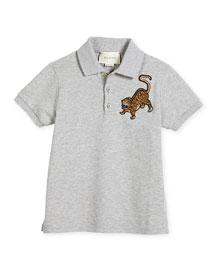 Pique Tiger Polo Shirt, Gray, Size 6-12