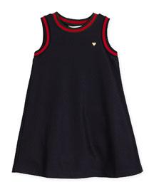 Sleeveless Web-Trim Jersey Shift Dress, Size 4-12