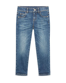Faded Stretch Skinny Jeans, Blue, Size 6-12
