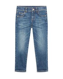 Faded Stretch Skinny Jeans, Blue, Size 6-12
