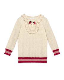 Silk-Blend Knit Ruffle-Trim Pullover Sweater, White/Red, Size 6-12