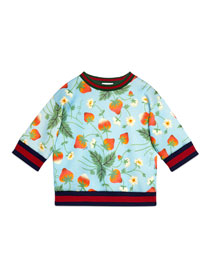 Double-Face Knit Strawberry-Print Top, Blue, Size 6-12