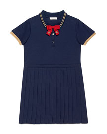 Pleated Cotton Pique Polo Dress, Blue, Size 6-12