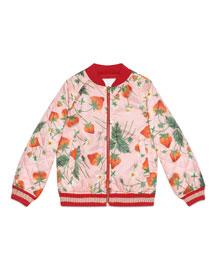 Strawberry-Print Waterproof Bomber Jacket, Pink, Size 8-12
