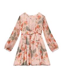 Strawberry-Print Silk Chiffon Dress, Pink, Size 8-12