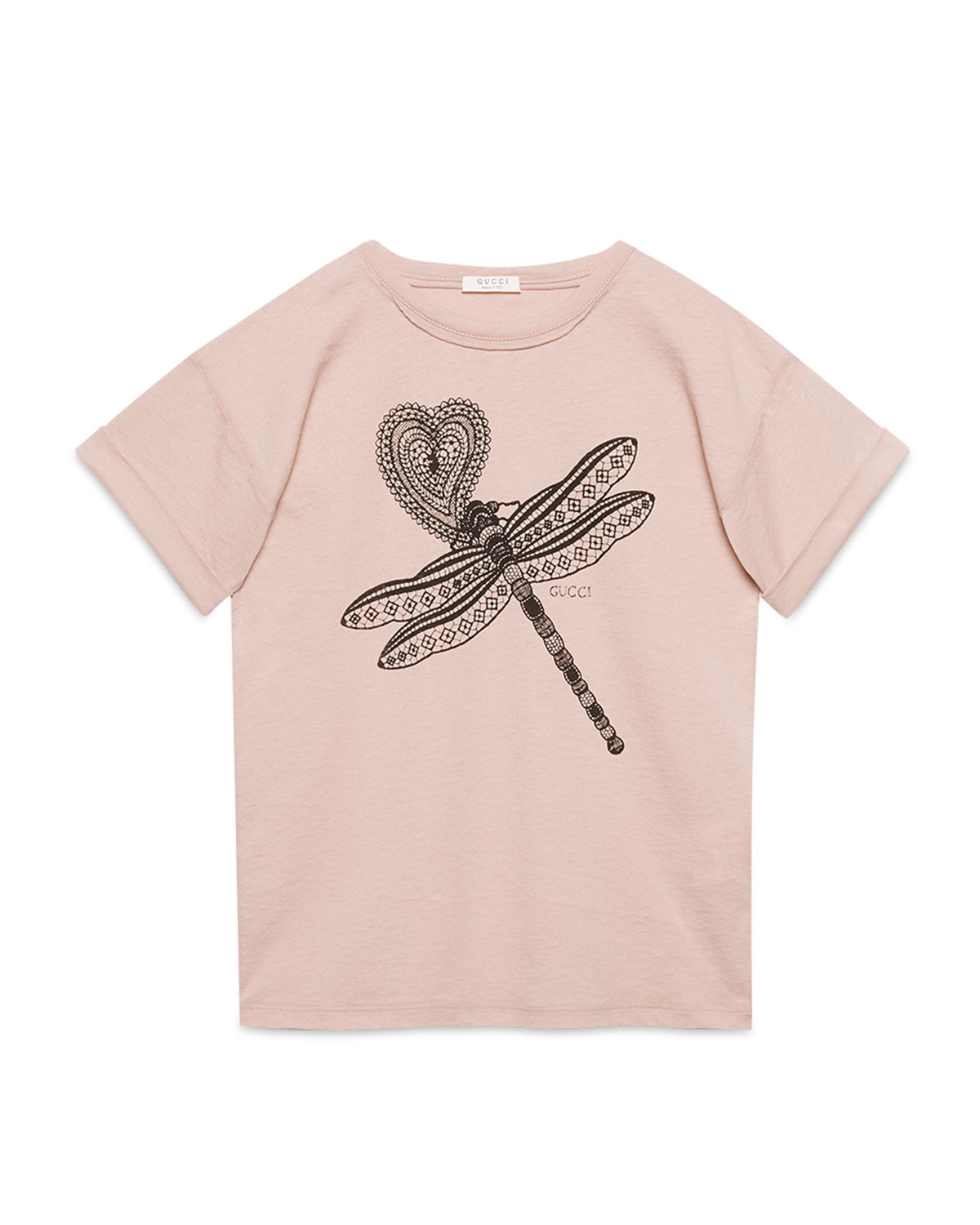 Gucci Oversize Dragonfly Jersey Tee, Pink, Size 8-12, Girl's, Size: 8