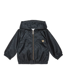 Hooded GG-Print Rain Jacket, Navy, Size 18-36 Months