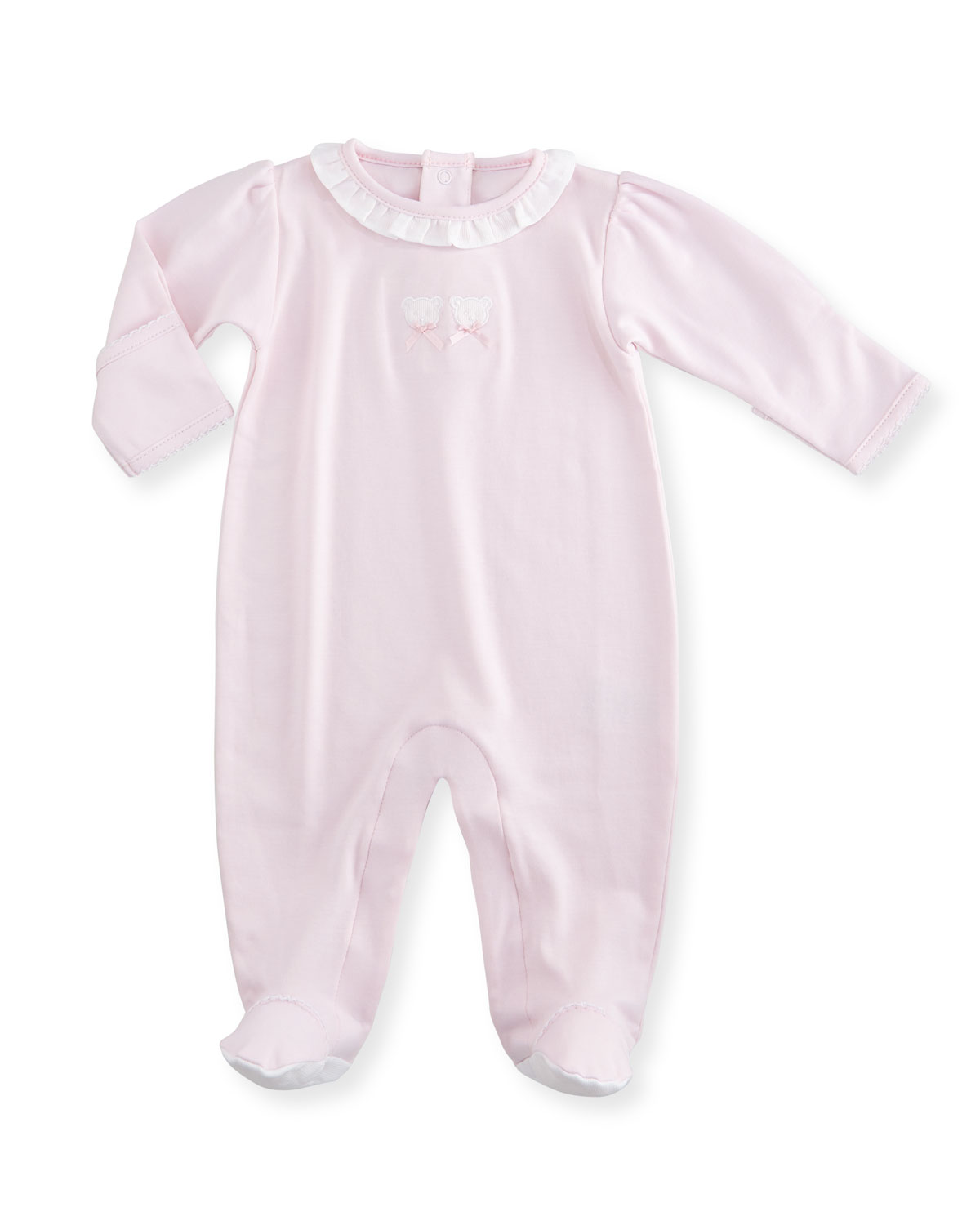 Kissy Kissy Pique Bears Pima Collared Footie Pajamas, Pink, Size Newborn-6 Months, Size: 3-6 Months