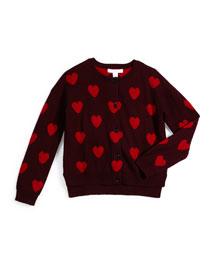 Siena Cashmere Heart Cardigan, Deep Claret, Size 4-14