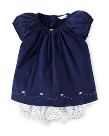 Cap-Sleeve Cotton Voile Dress w/ Bloomers, French Navy, Size 9-24 Months