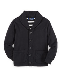Jersey Shawl-Collar Jacket, Polo Black, Size 2-7