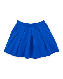 Pleated Jersey A-Line Skirt, Pacific Royal, Size 2-6X
