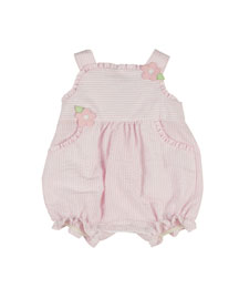Sleeveless Striped Bubble Playsuit, Pink/White, Size 3-18 Months