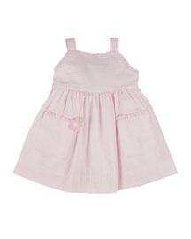 Striped Seersucker Wrap Dress, Pink/White, Size 2-4