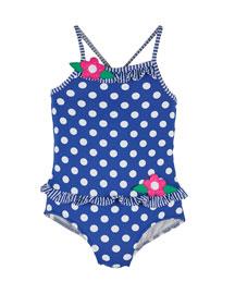 Polka-Dot One-Piece Swimsuit, Royal/White, Size 2-4