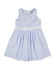Sleeveless Pleated Ottoman Dress, White/Blue, Size 4-6