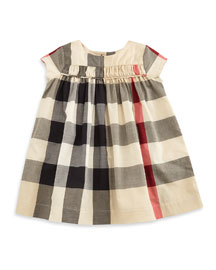 Ariadne Cap-Sleeve Check Shift Dress, Tan, Size 3M-3