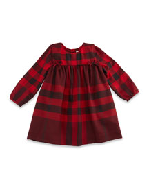 Thea Long-Sleeve Check Dress, Burgundy Red, Size 3M-3