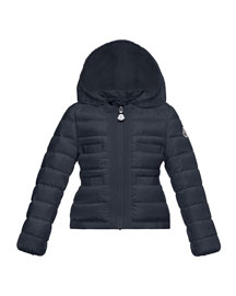 Alose Hooded Puffer Coat, Navy, Size 8-14