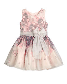 Floating Tulips Chiffon A-Line Dress, Lavender/Pink, Size 4-6