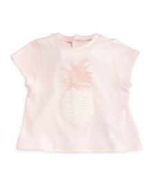 Cotton Pineapple Jersey Tee, Light Pink, Size 2-3