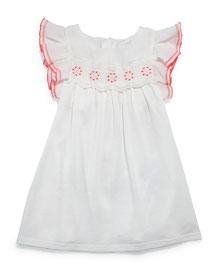 Sleeveless Ruffle-Trim Jersey Dress, Cream, Size 2-3