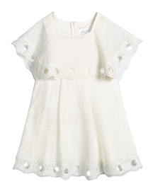 Guipure Couture Popover Dress, Cream, Girls' Size 4-5