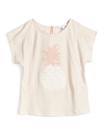Cap-Sleeve Pineapple Jersey Tee, Pink, Size 4-5
