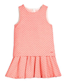Sleeveless Fancy Tweed Fit-and-Flare Dress, Pink, Size 4-5