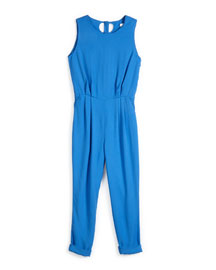 Sleeveless Twill Open-Back Jumpsuit, Blue, Girls' Size 6-10