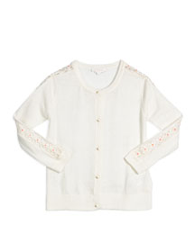 Embroidered Button-Front Cardigan, Cream, Size 6-10