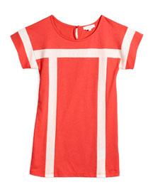 Short-Sleeve Contrast-Trim Shift Dress, Red, Size 6-10