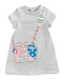 Binocular Trompe l'Oeil Dress, Gray, Size 2-3