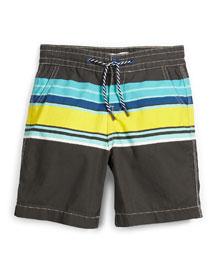 Striped Poplin Board Shorts, Multicolor, Size 6-8