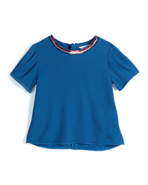 Sequin-Trim Short-Sleeve Crepe Blouse, Dark Blue, Size 4-5