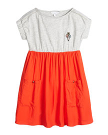 Cap-Sleeve Colorblock Combo Dress, Gray/Coral, Size 4-5