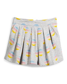 Pleated Fleece Polka-Dot Skirt, Gray, Size 6-10